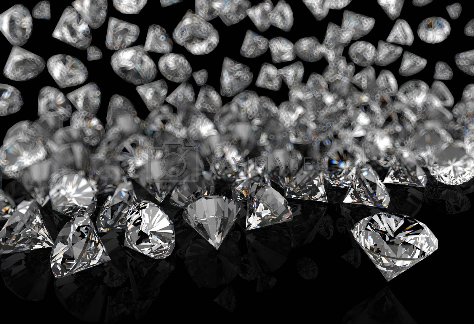 Royalty free image of diamonds on black surface by everythingpossible