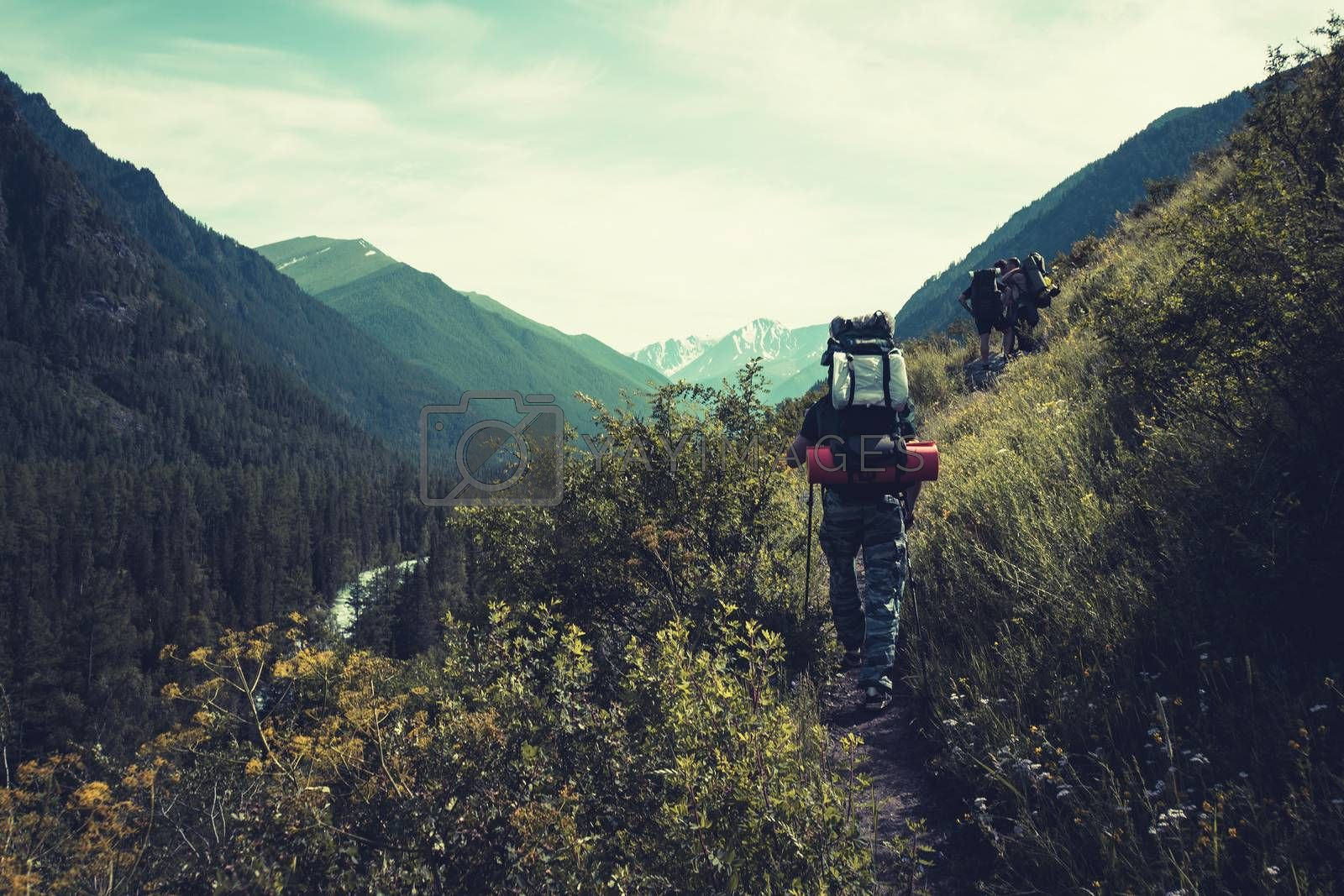 Royalty free image of Man with backpack hiking in mountains Travel Lifestyle success concept adventure active vacations outdoor mountaineering sport landscape by diy13