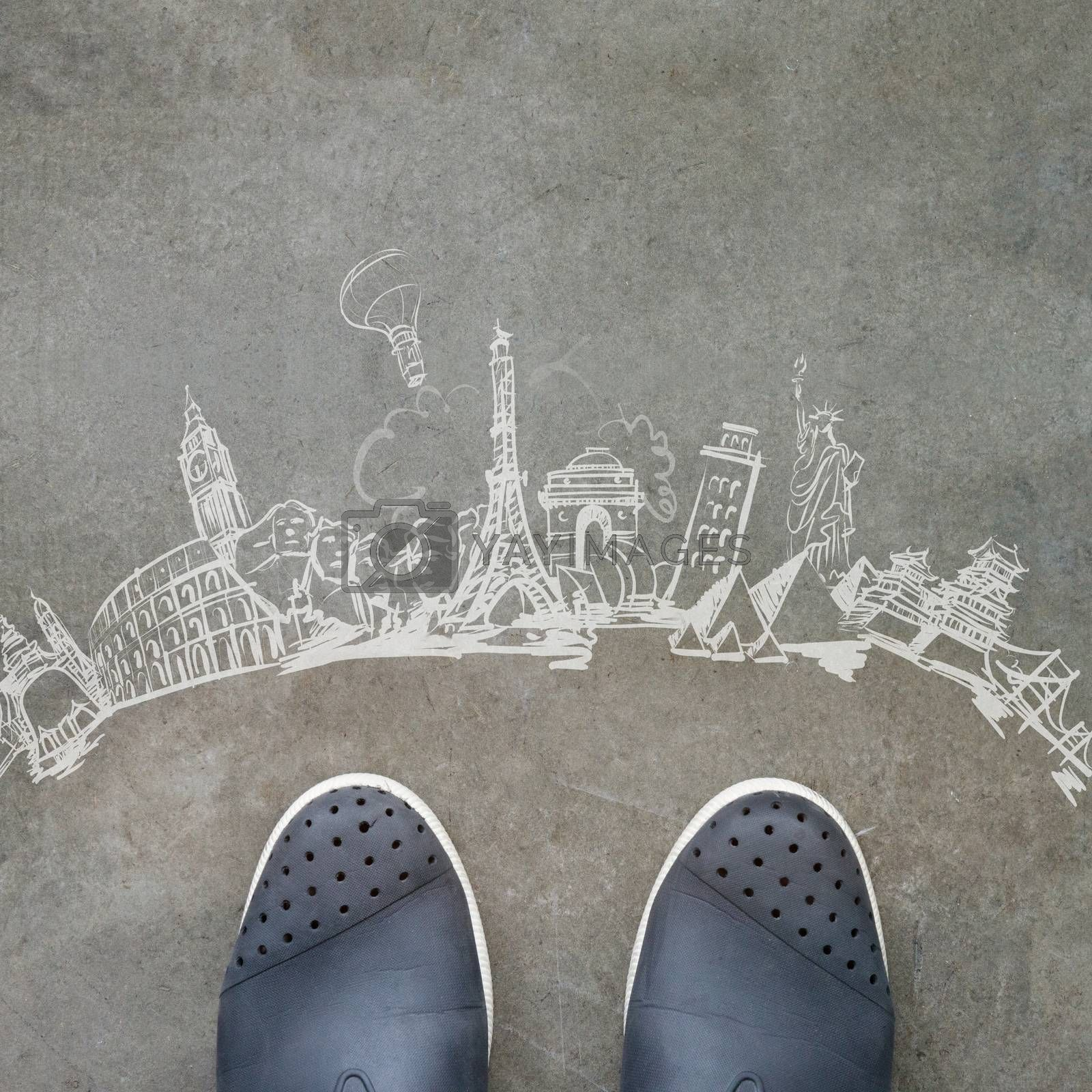 Royalty free image of hand drawn traveling around the world on wooden background as vi by everythingpossible