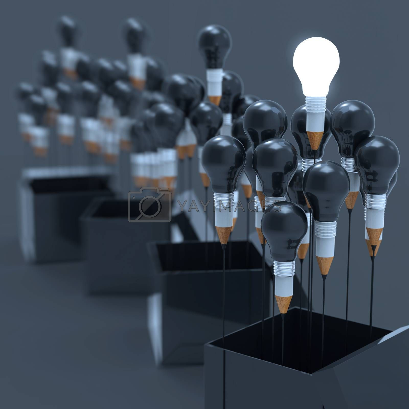 Royalty free image of drawing idea pencil and light bulb concept outside the box as cr by everythingpossible