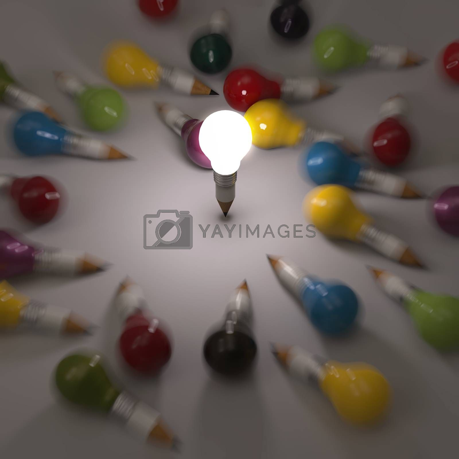 Royalty free image of drawing idea pencil and light bulb concept creative and leadersh by everythingpossible