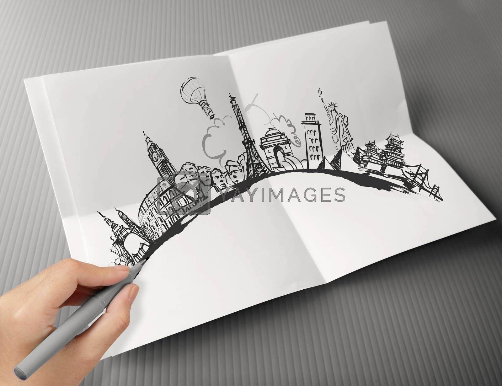 Royalty free image of hand drawn traveling around the world on paper background as vin by everythingpossible