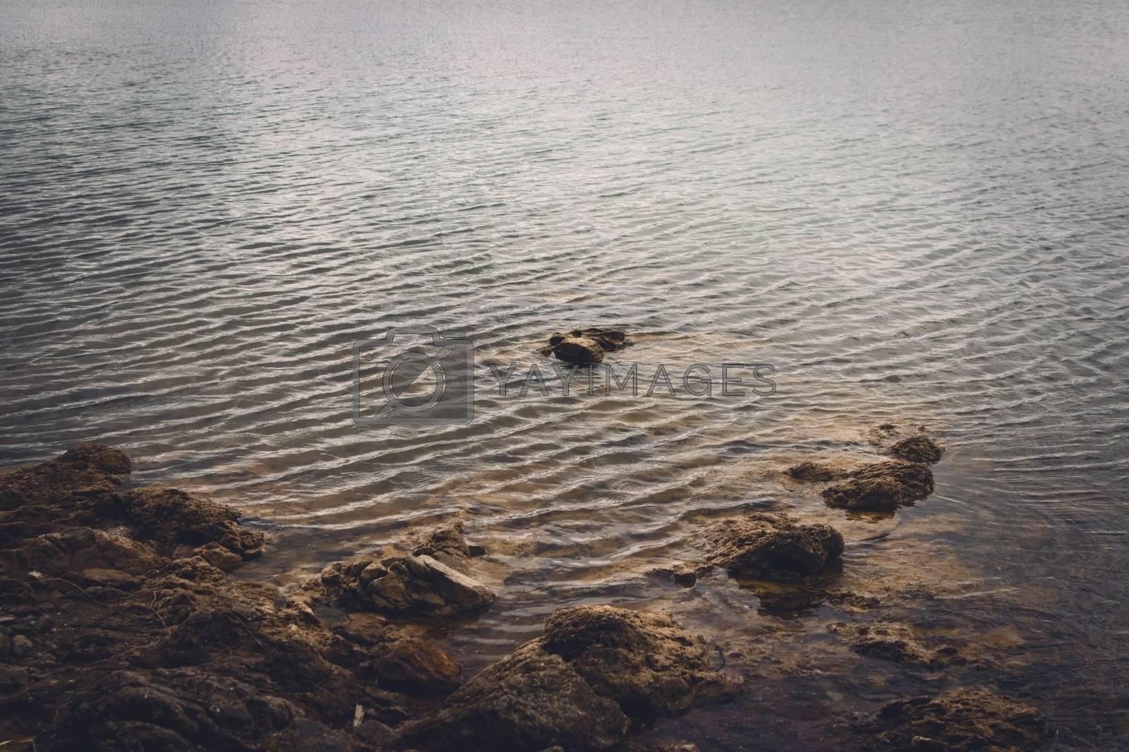 Royalty free image of Rocky shore of lake La Florida, in San Luis, Argentina by hernan_hyper