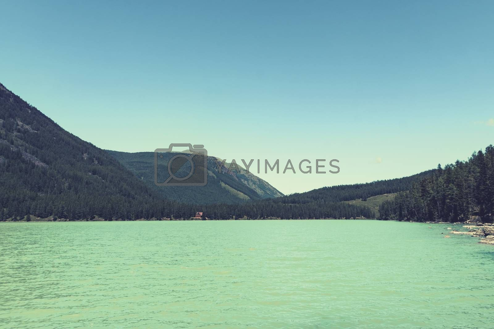 Royalty free image of Beautiful landscape with turquoise lake, forest and mountains, Wooden house near the blue lake in dense forest among the trees. Tourist base in the Siberian taiga. Wooden frame house. Altai. Russia by diy13