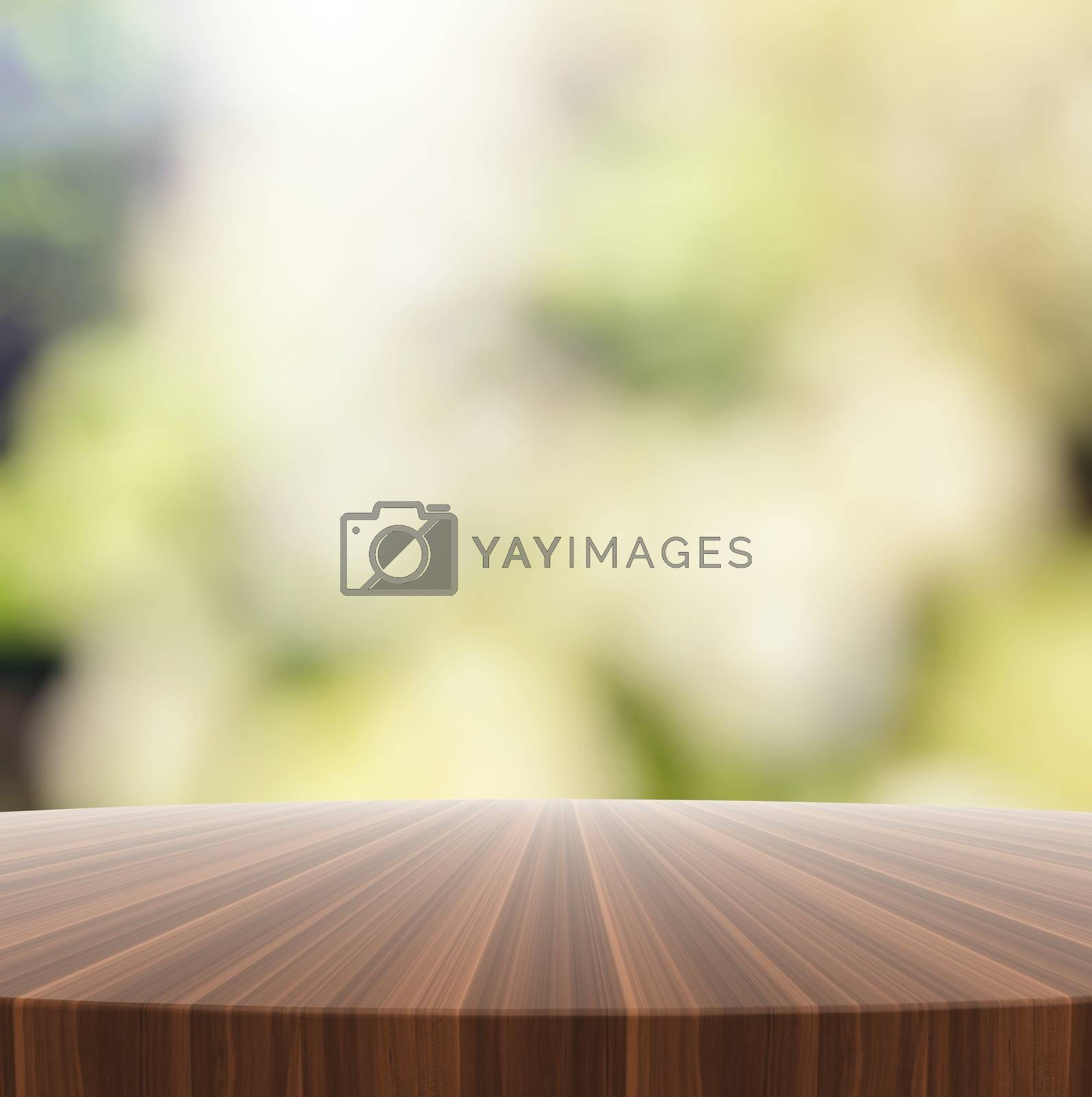 Royalty free image of Empty wooden round table and blurred background for product pres by everythingpossible