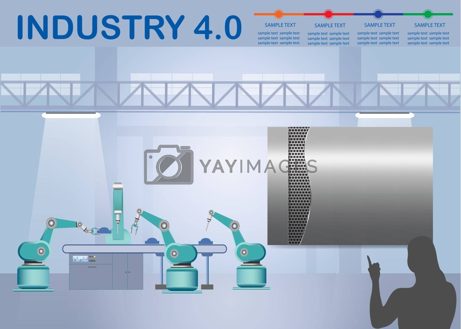 Royalty free image of Industry 4.0 Smart factory infographic with metal label by Frank11