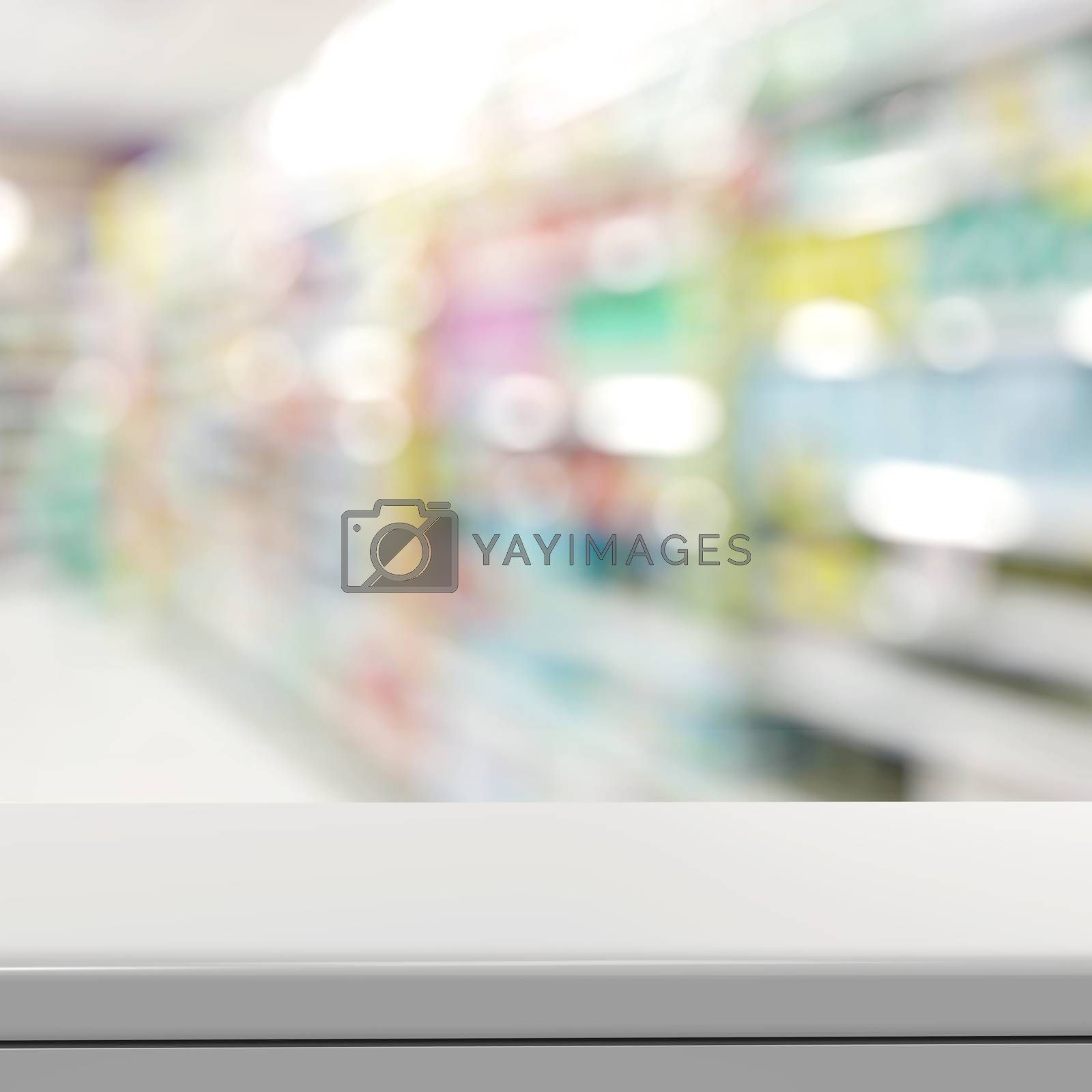 Royalty free image of Empty laminate shelf and blurred  background for business produc by everythingpossible