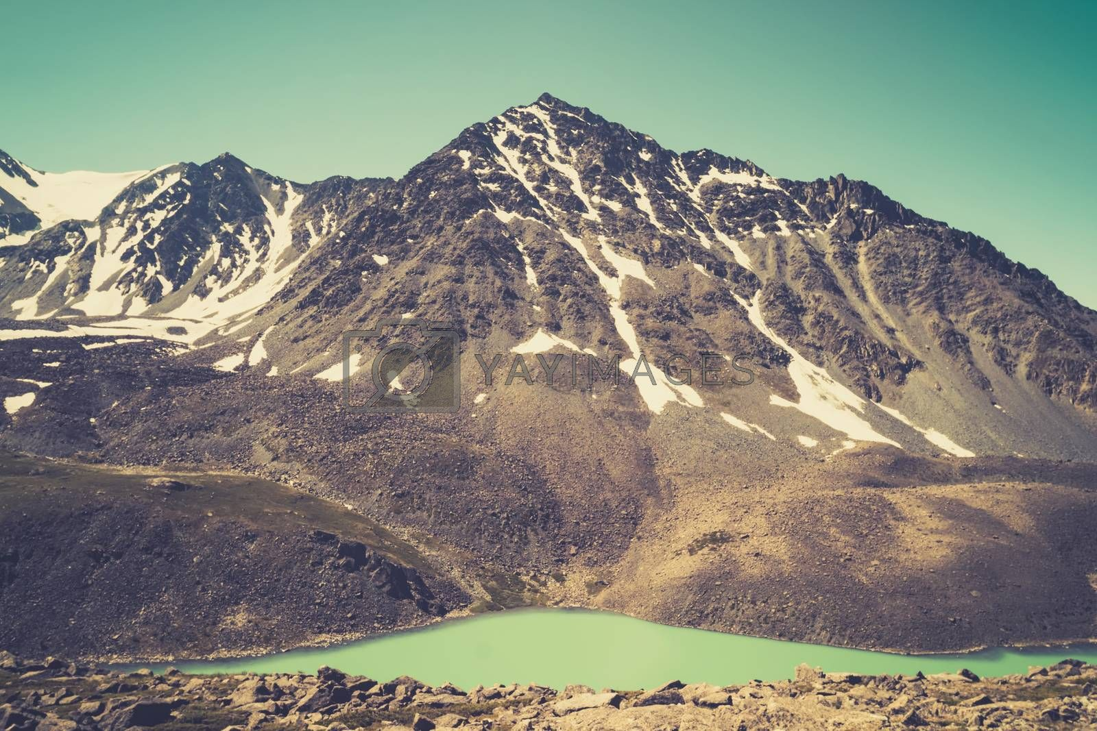 Royalty free image of Beautiful panoramic view at Kucherla mountain lake and mountain range. Belukha national park, Altai republic, Siberia, Russia. Lake green and lake blue above lake Kucherla by diy13