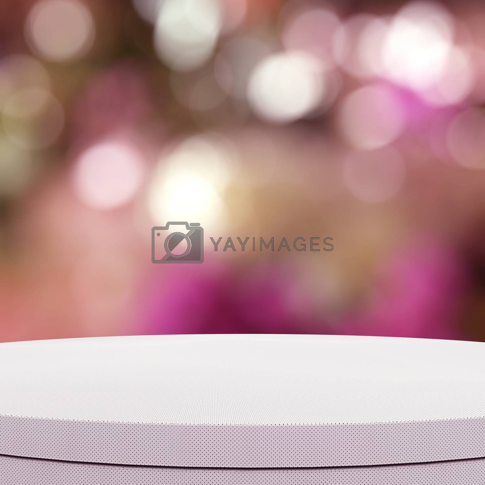 Royalty free image of Empty leather round table and blurred background for product pre by everythingpossible