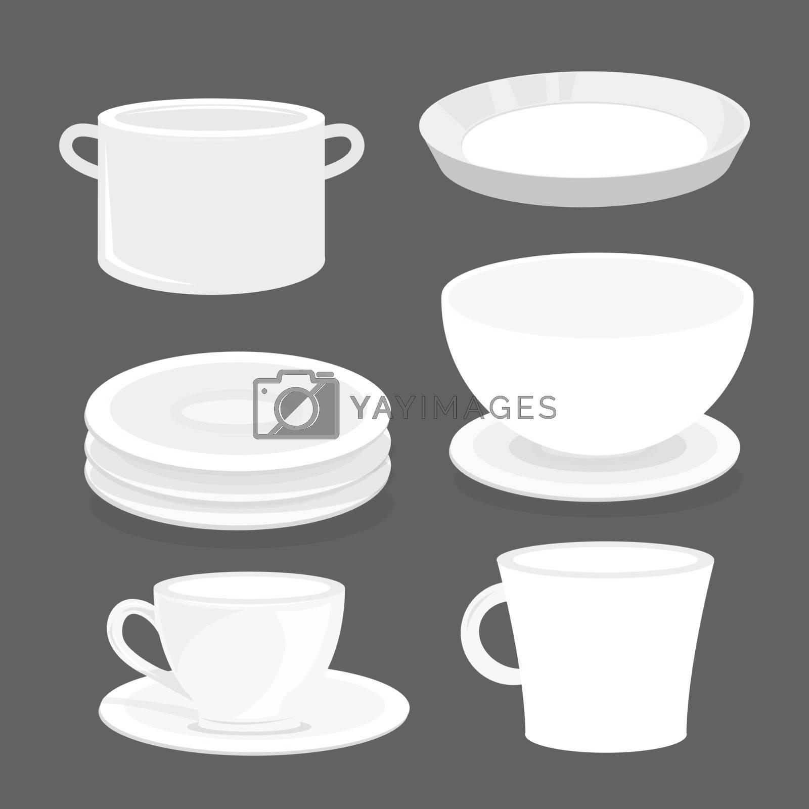 Bowl Dish Plate Cup Tumbler Glass Tray Cartoon Vector