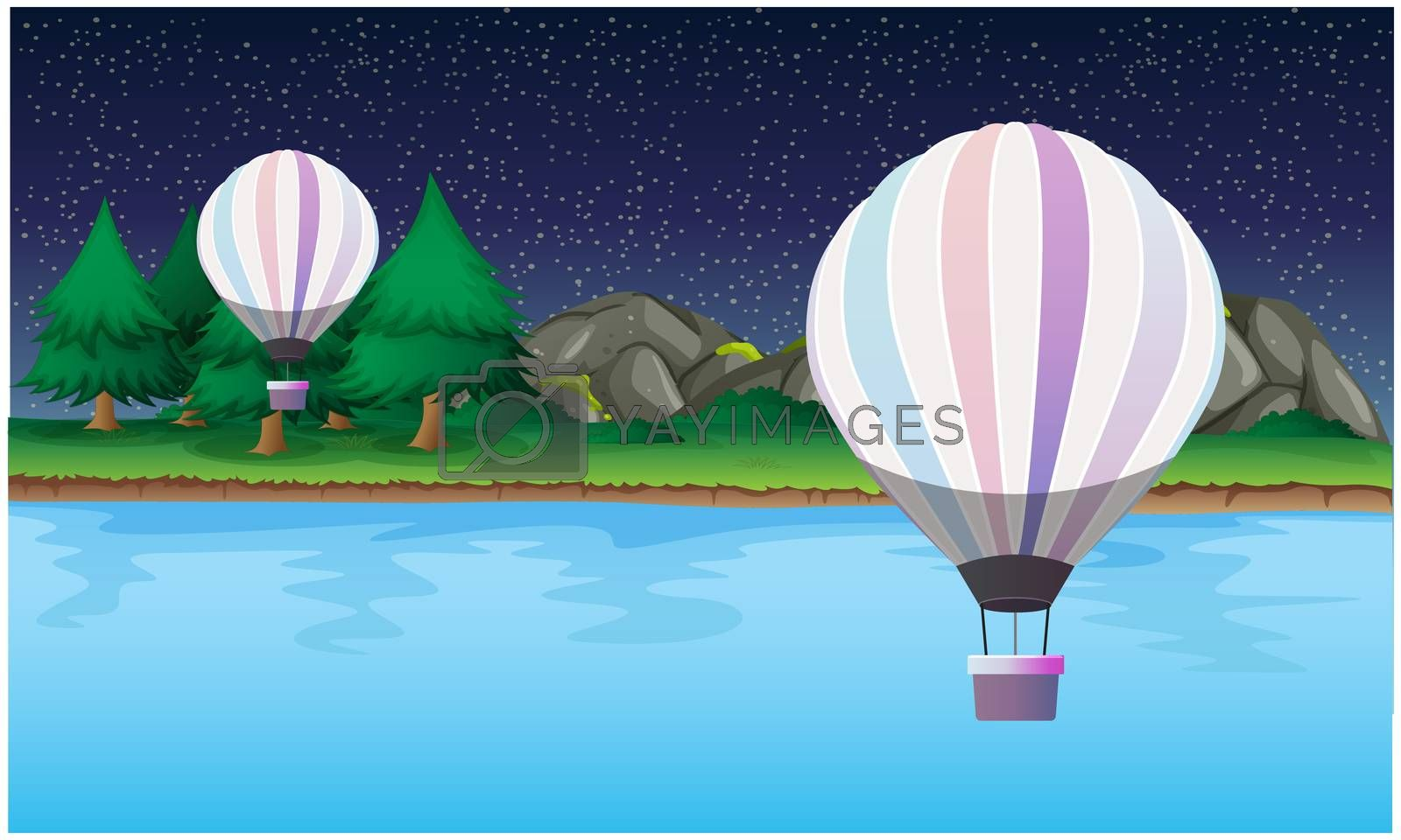Royalty free image of hot air balloons are flying in the sky at night by aanavcreationsplus