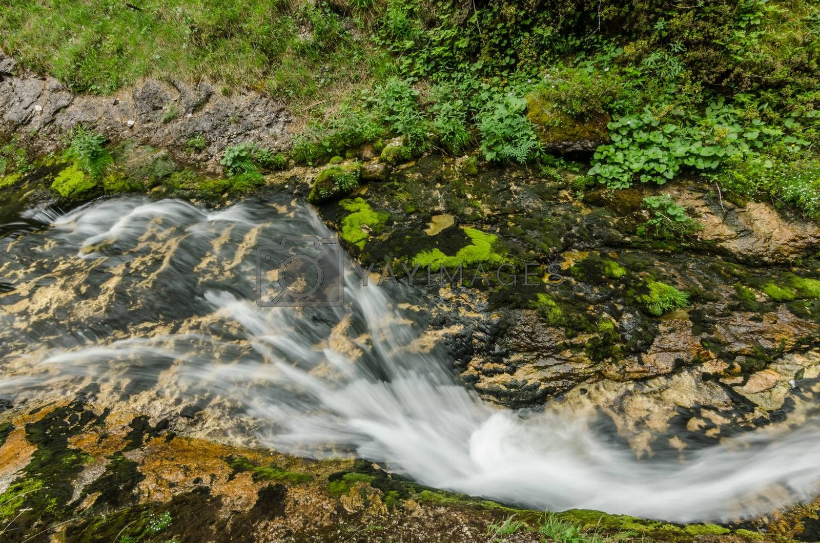Royalty free image of small thin waterfall by thomaseder