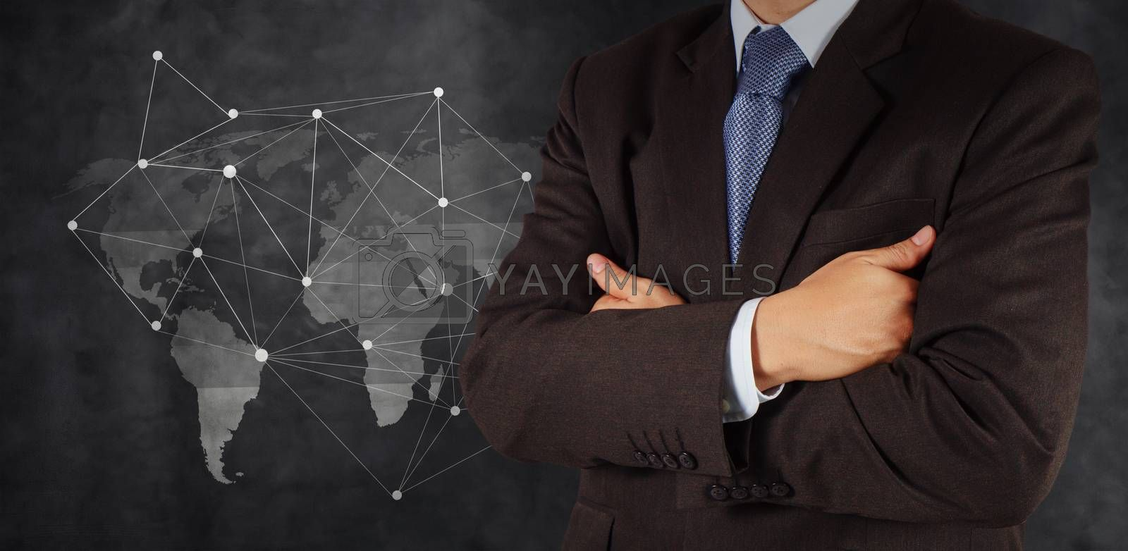 Royalty free image of businessman with social network structure as concept by everythingpossible
