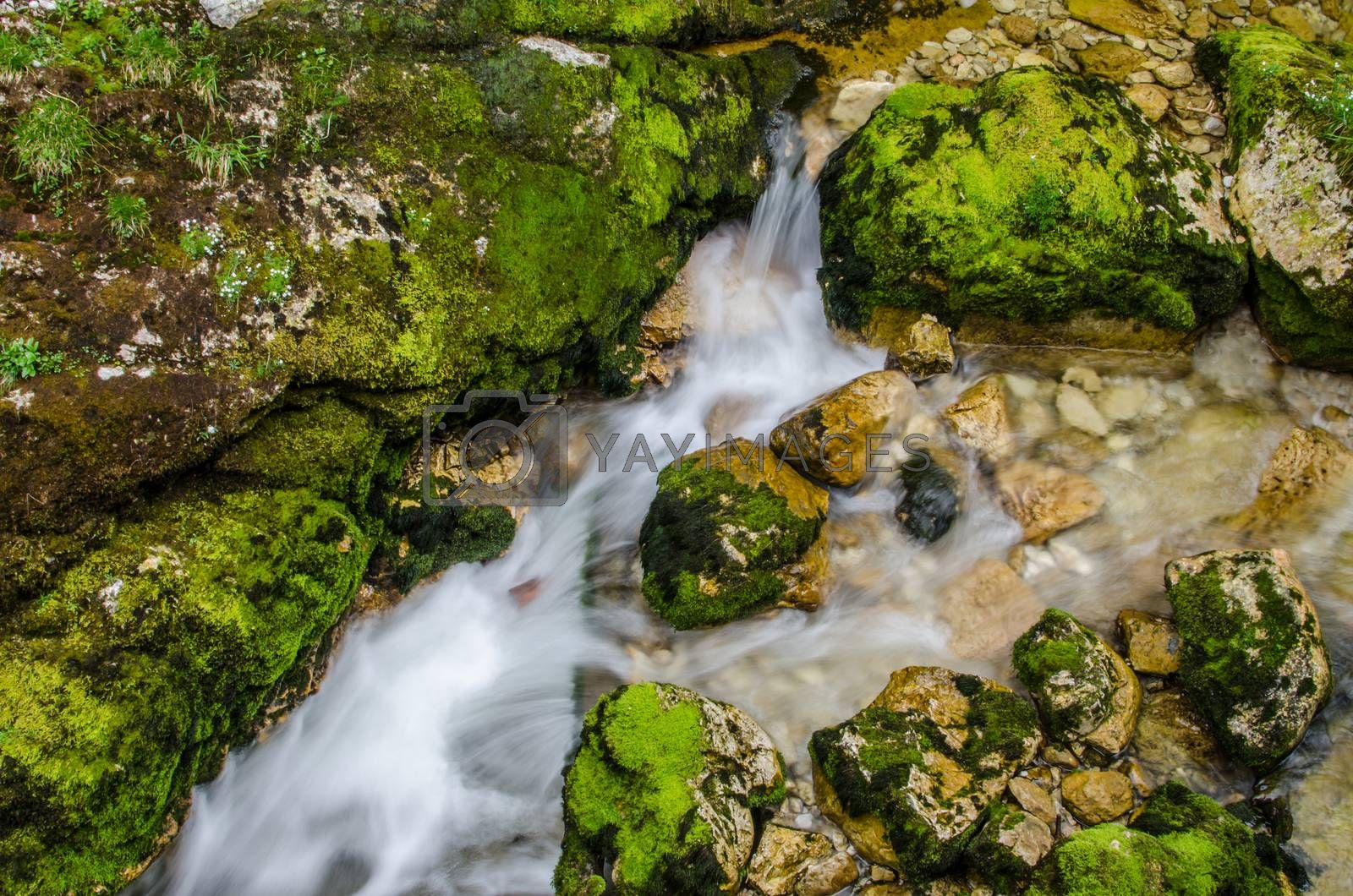 Royalty free image of fast water with rocks by thomaseder