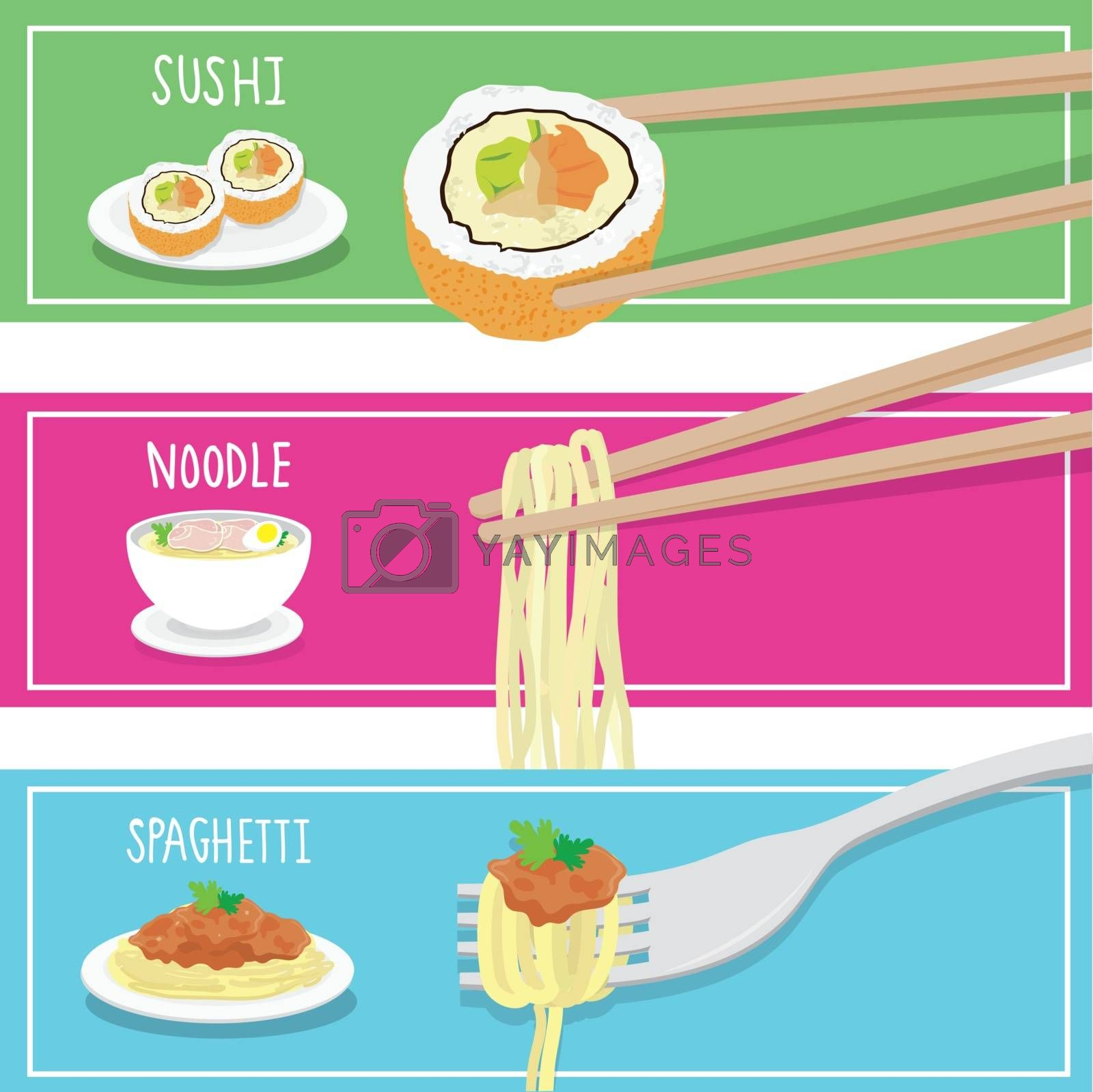 Royalty free image of International Food Sushi Noodle Spaghetti cartoon vector by Ienjoyeverytime