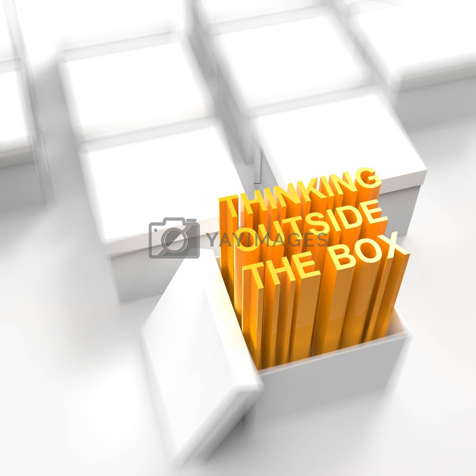 Royalty free image of 3d open box with extrude text as thinking outside the box concep by everythingpossible