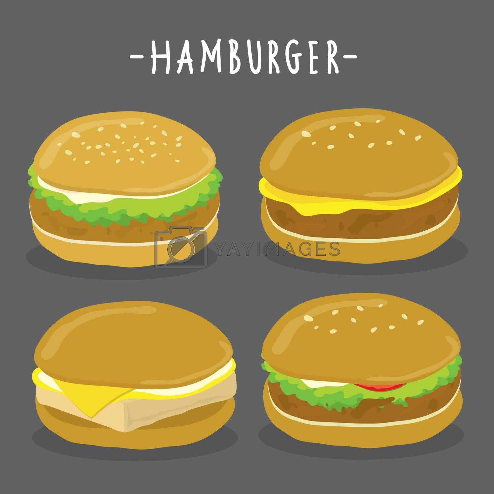 Royalty free image of Set of Hamburger and Cheeseburger American food Vector by Ienjoyeverytime