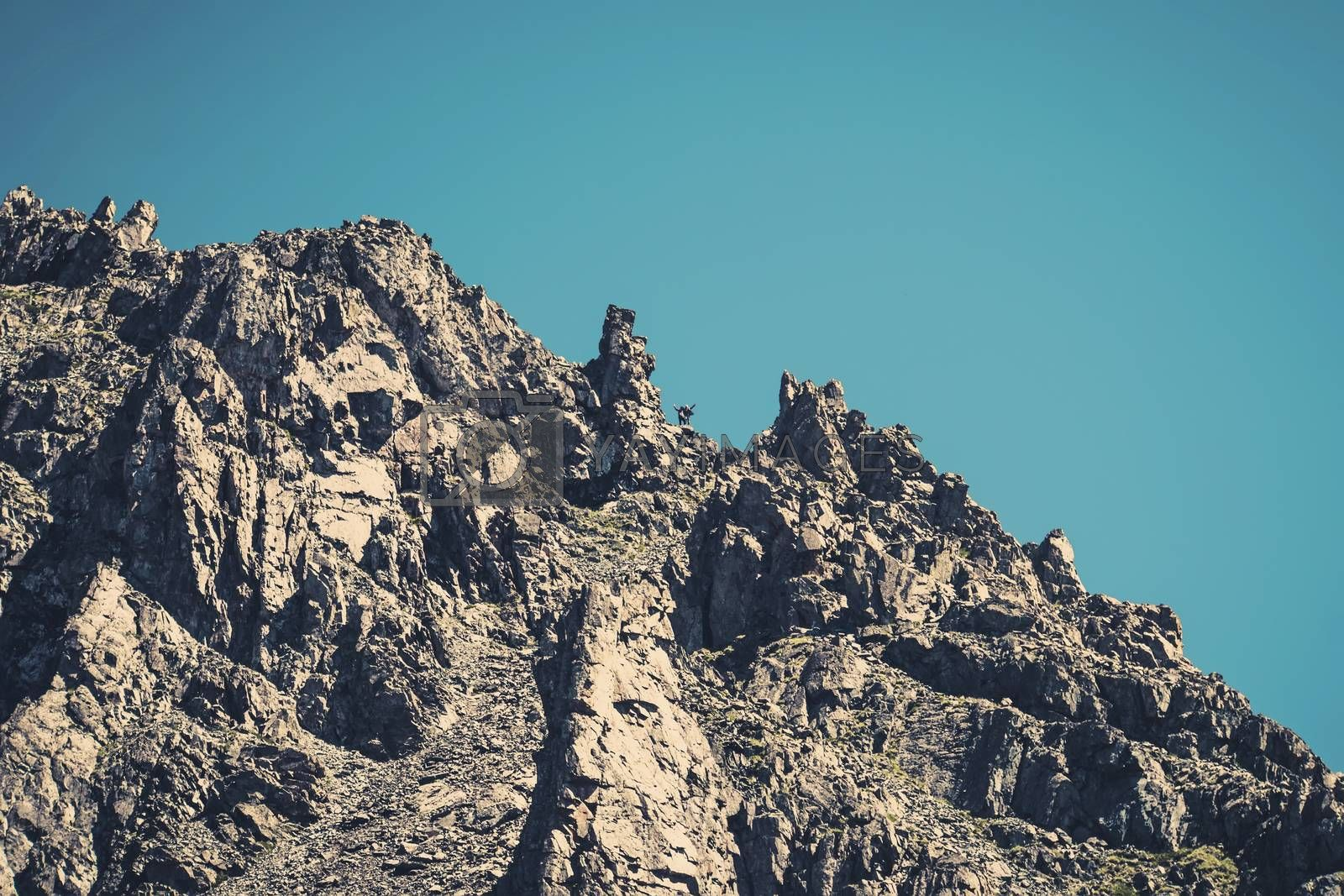 Royalty free image of sheer cliff on the background of blue sky. mountaineer climbed the highest dangerous mountain. by diy13
