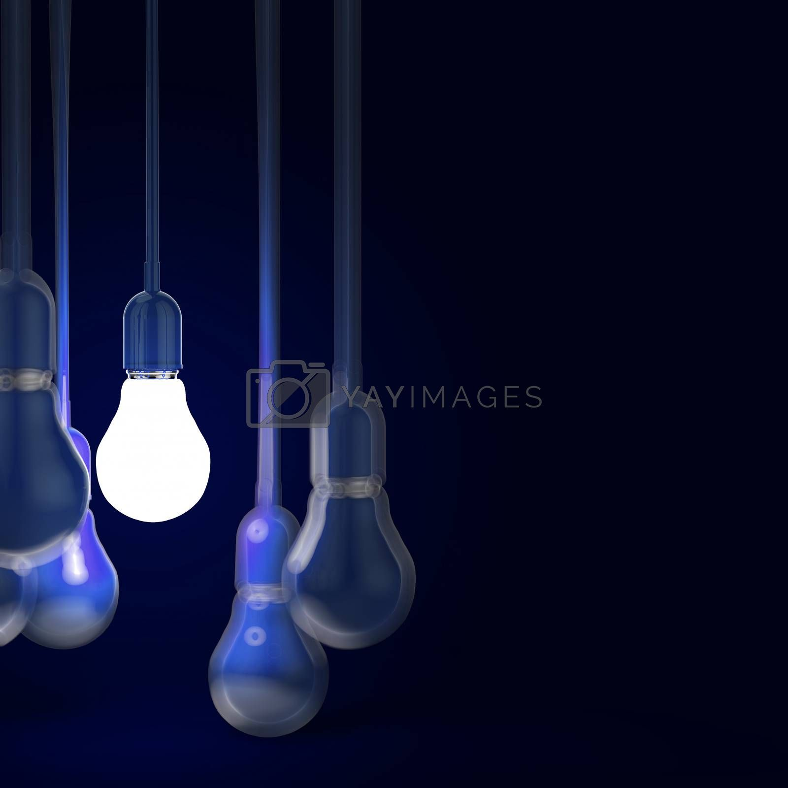 Royalty free image of creative idea and leadership concept with 3d light bulb by everythingpossible