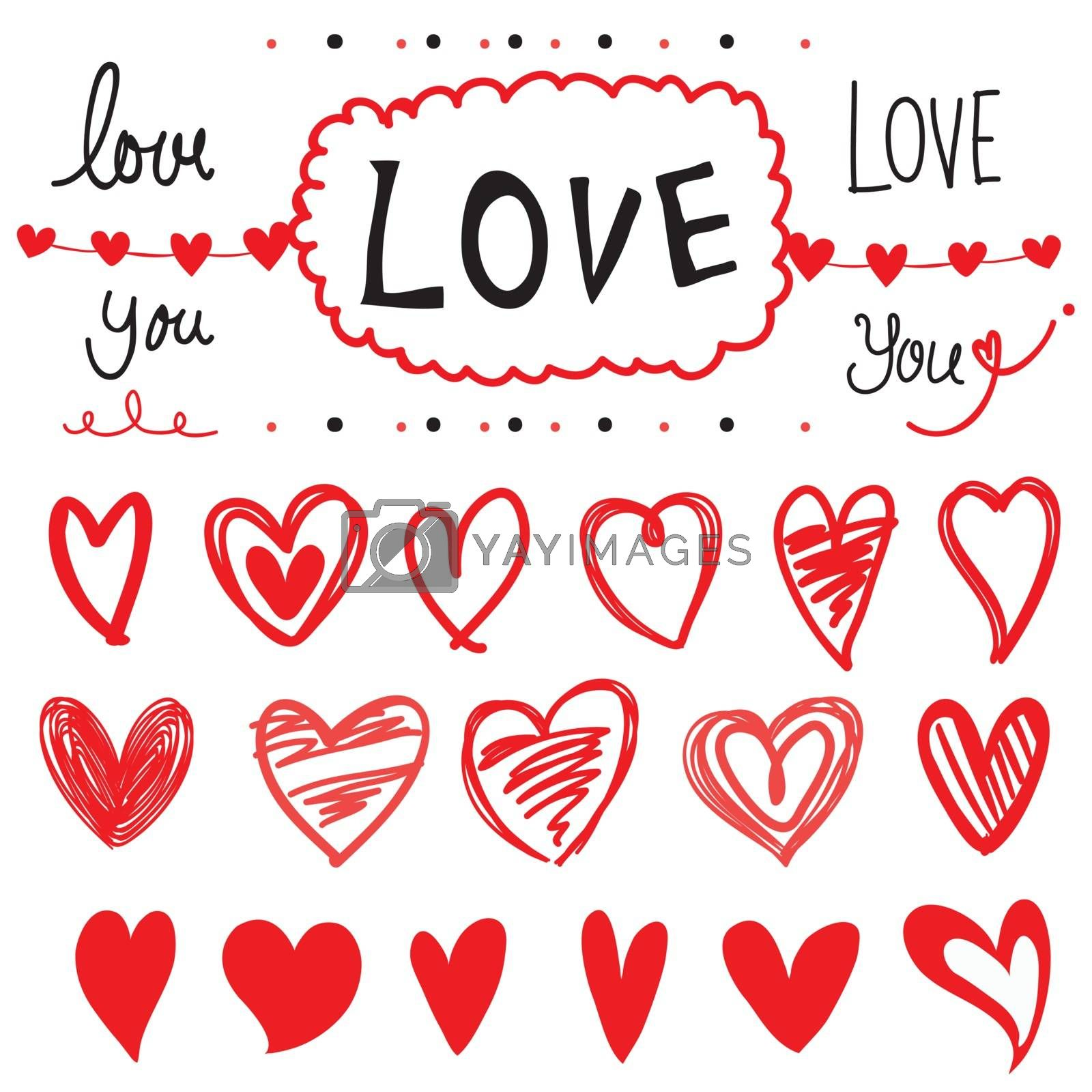 Royalty free image of Set of Love and Heart drawing design element Cartoon Vector by Ienjoyeverytime