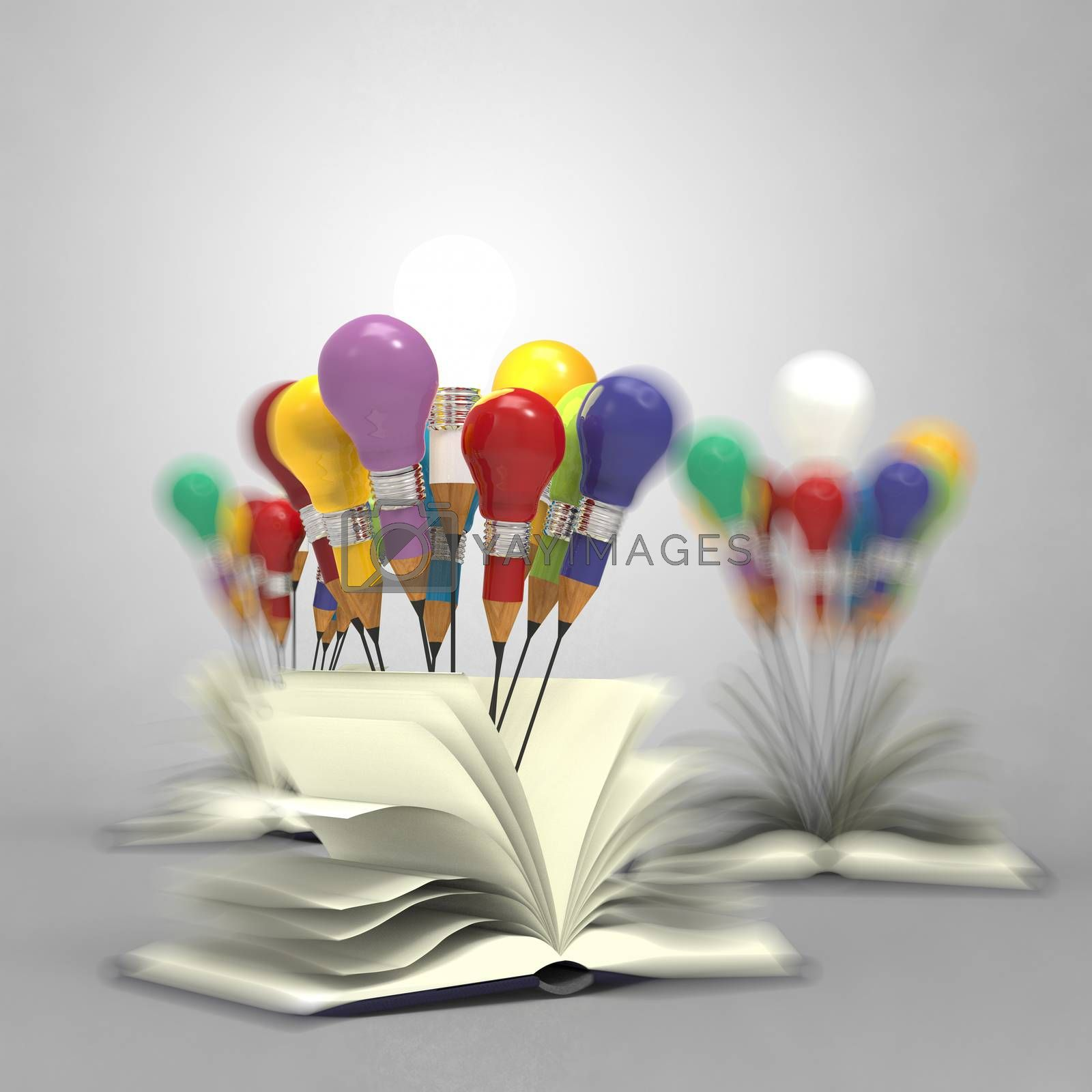 Royalty free image of drawing idea pencil and light bulb concept outside the book  by everythingpossible