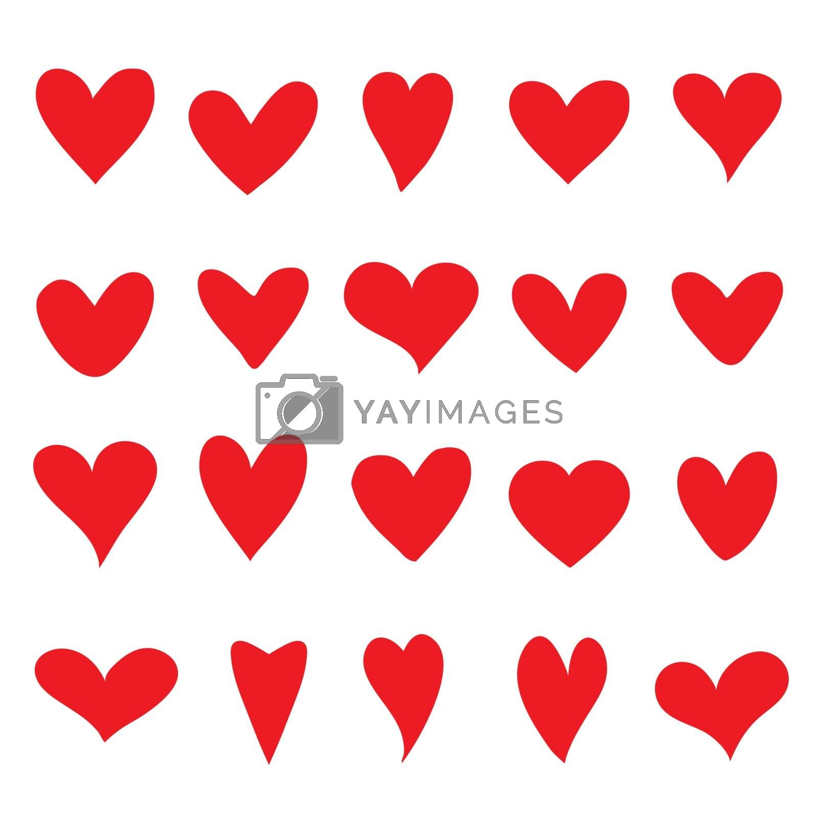 Collection of Red Heart Love element icon and symbol vector