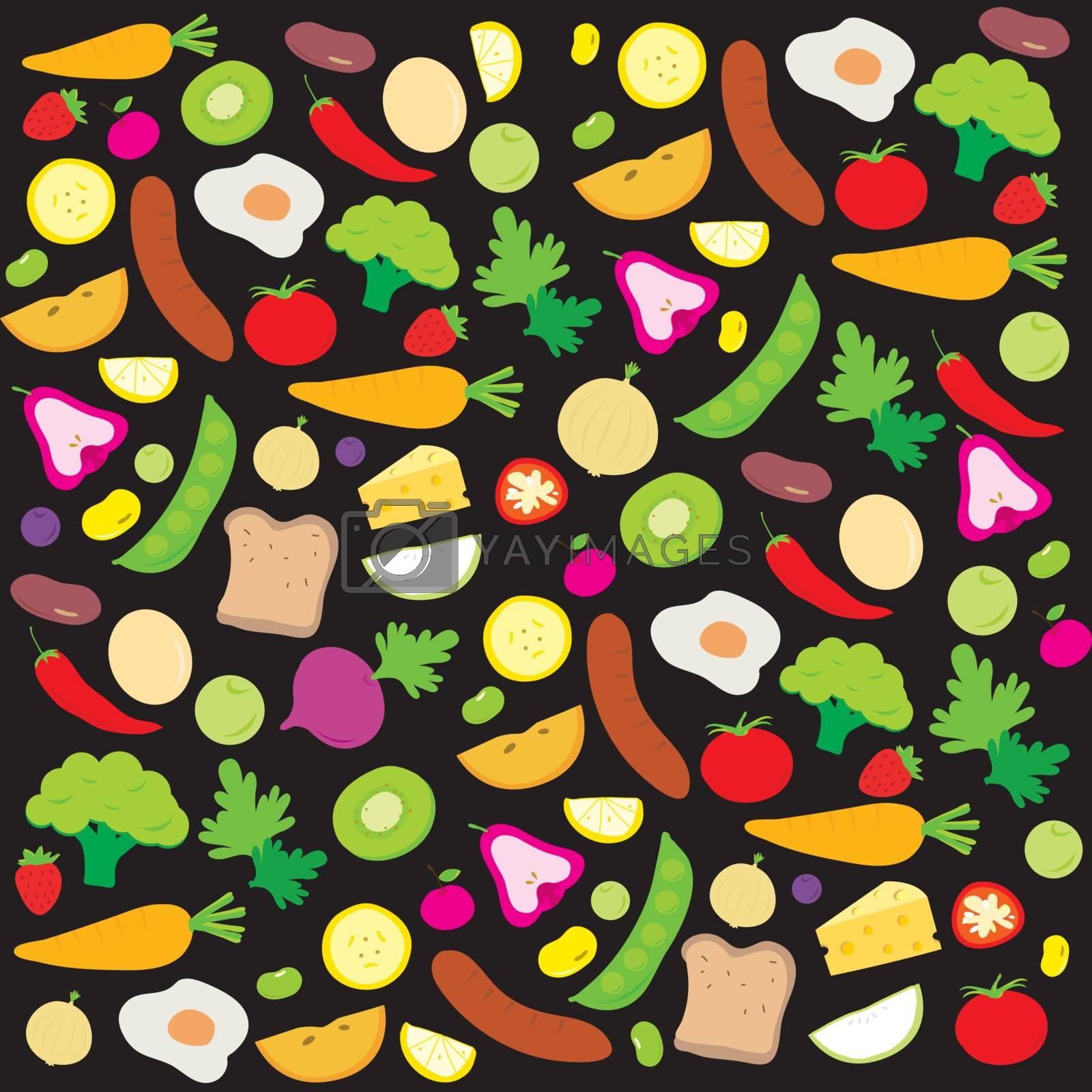 Royalty free image of Fruit Vegetable Healthy Food Cook Ingredient Nutrient cartoon vector by Ienjoyeverytime