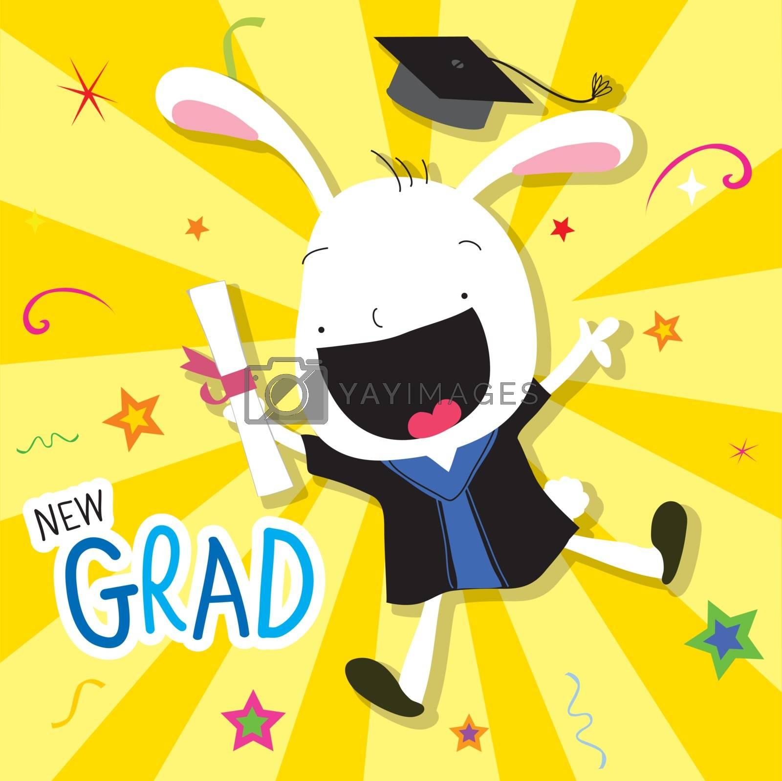 Congratulation New Graduate of Rabbit Animal Cute Cartoon Vector