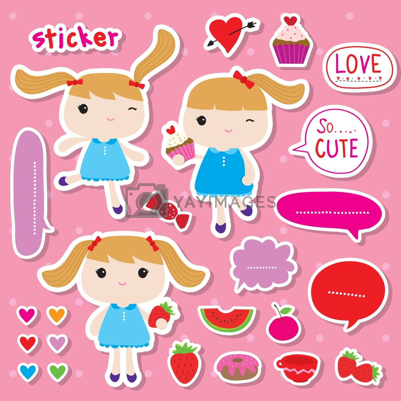 Royalty free image of Set of Sticker or Tag Cute Girl and Fruit Food Dessert cartoon Vector by Ienjoyeverytime