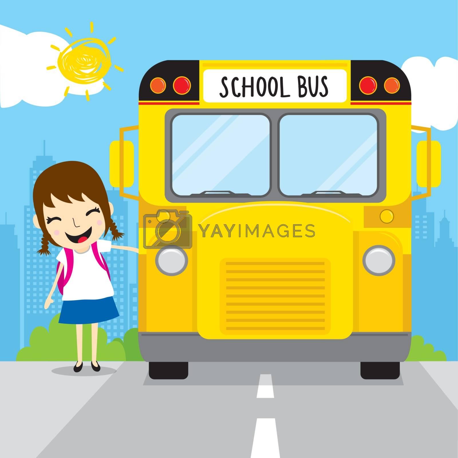 Girl kid student get on school bus in the morning cartoon vector