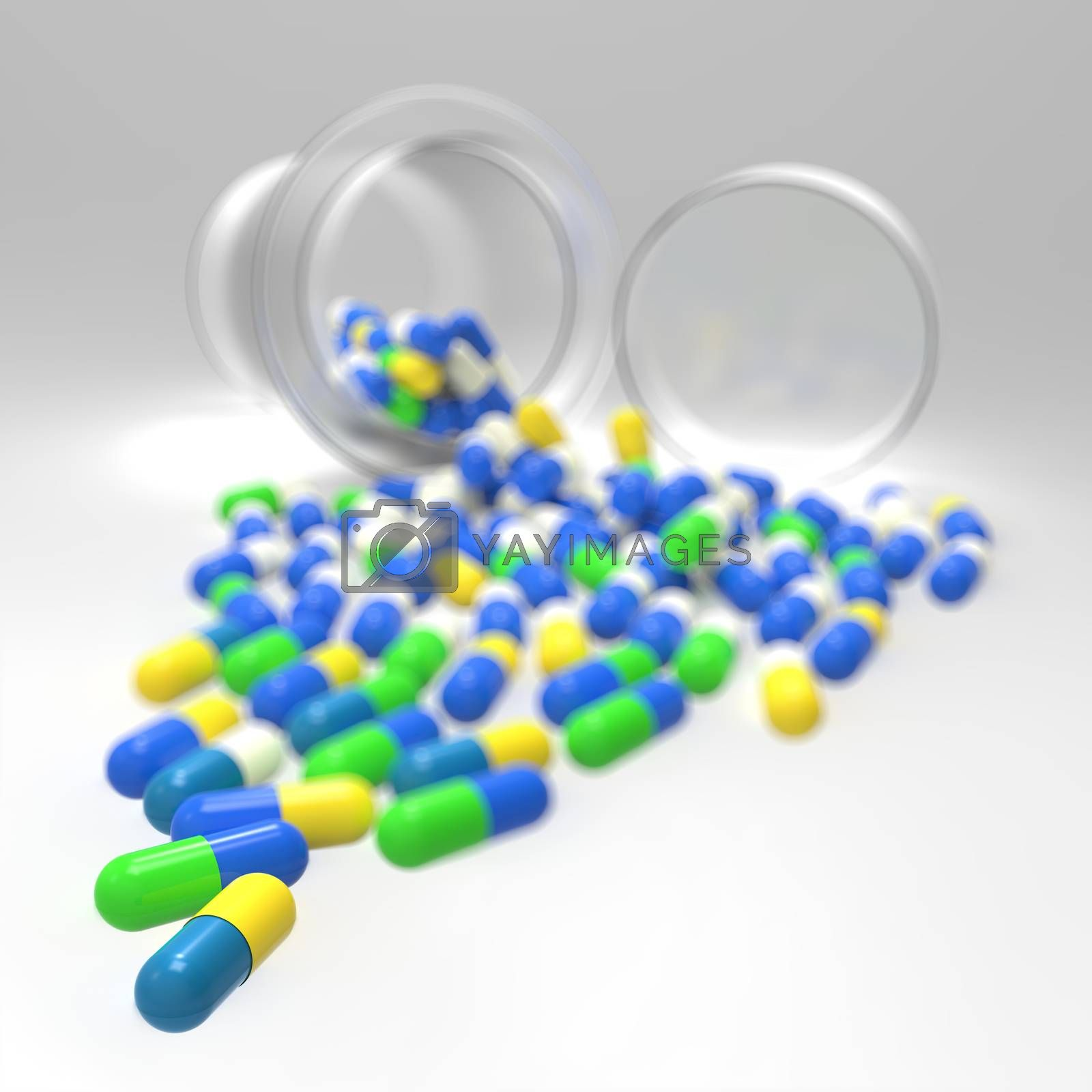 Royalty free image of Pills 3d spilling out of pill bottle on white  by everythingpossible