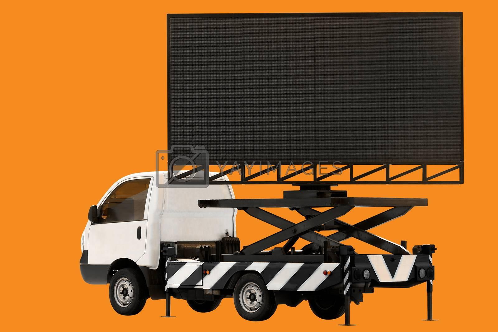 Billboard on car LED panel for sign Advertising isolated on background orange