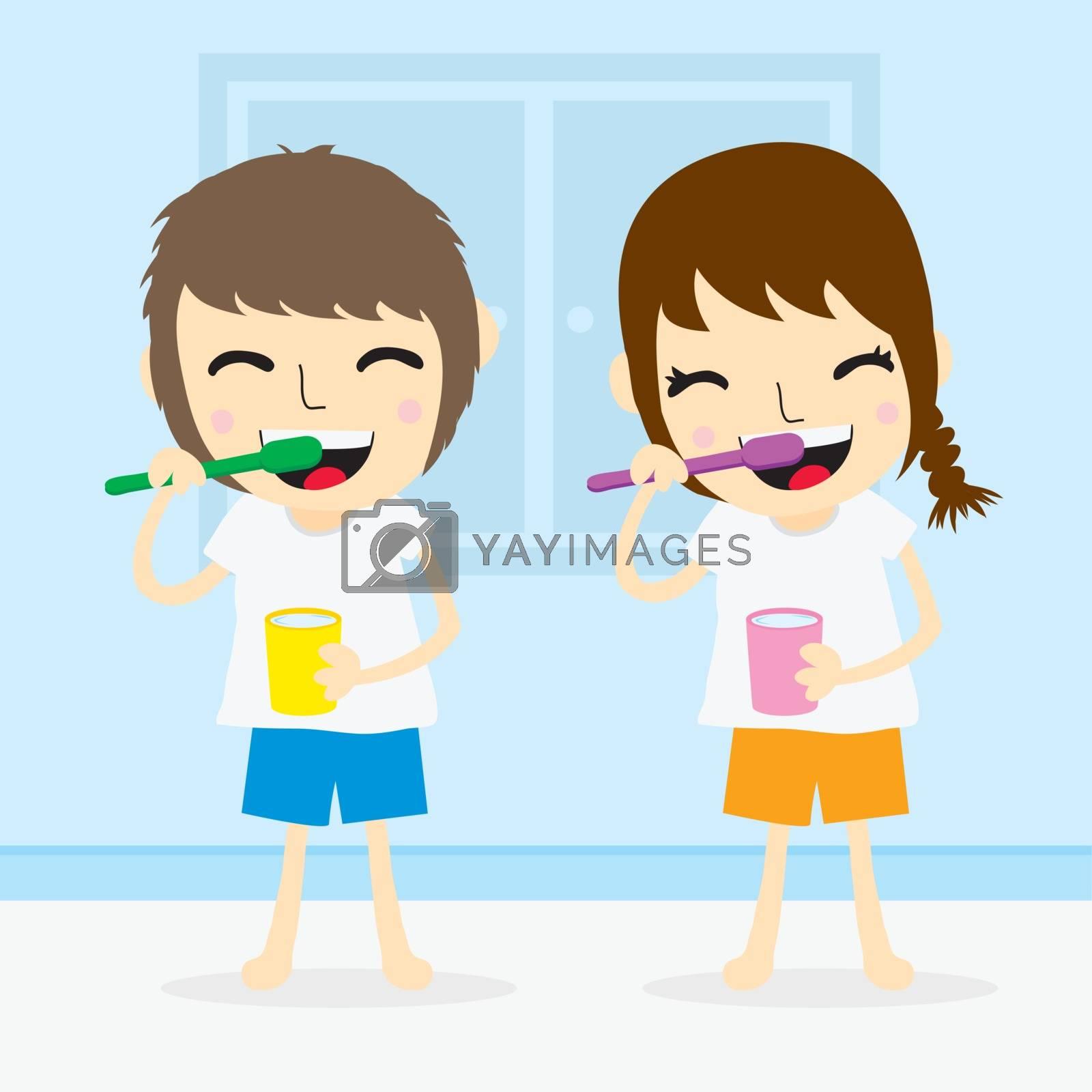 Kid boy and girl brushing teeth cartoon vector
