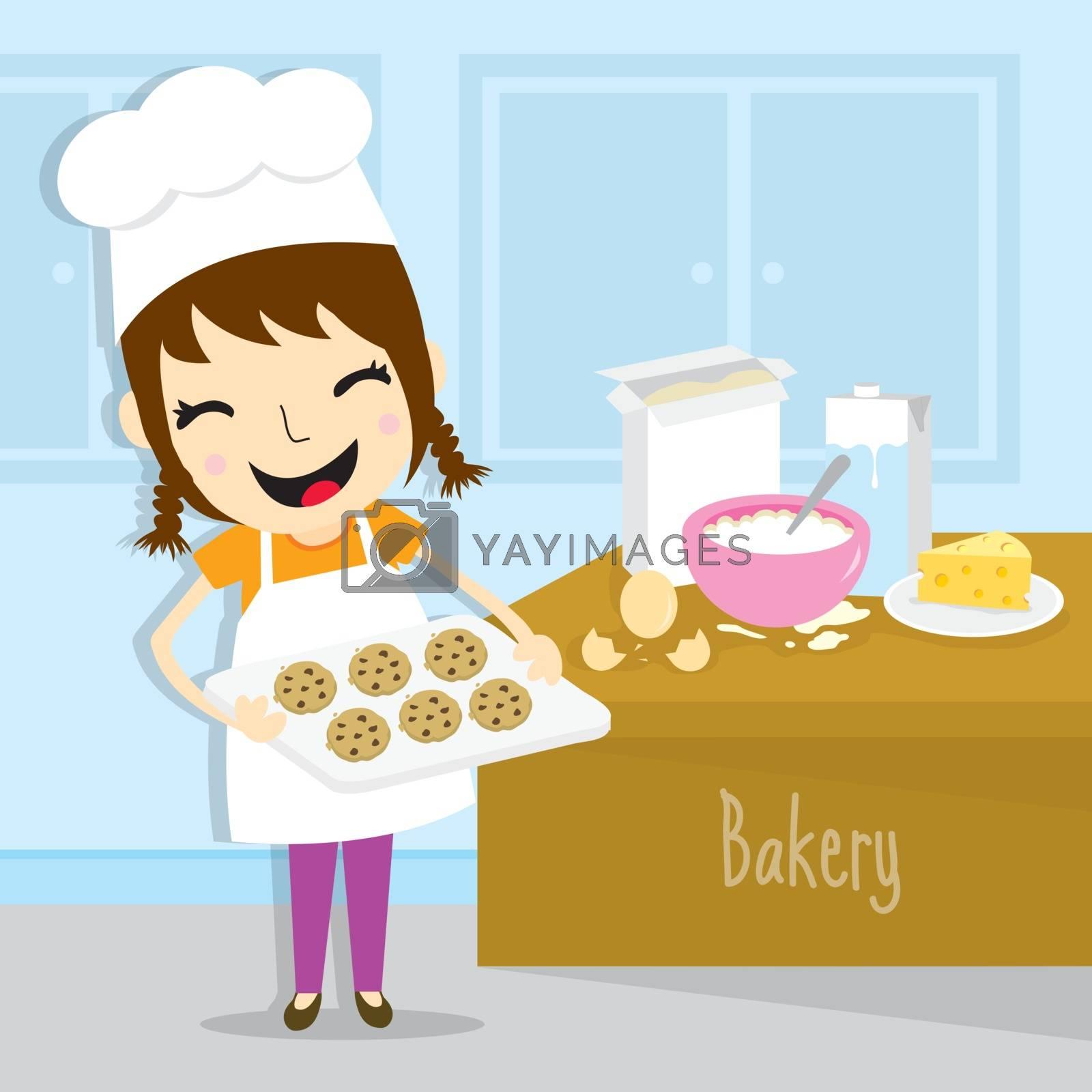 Girl make bakery activity cartoon vector