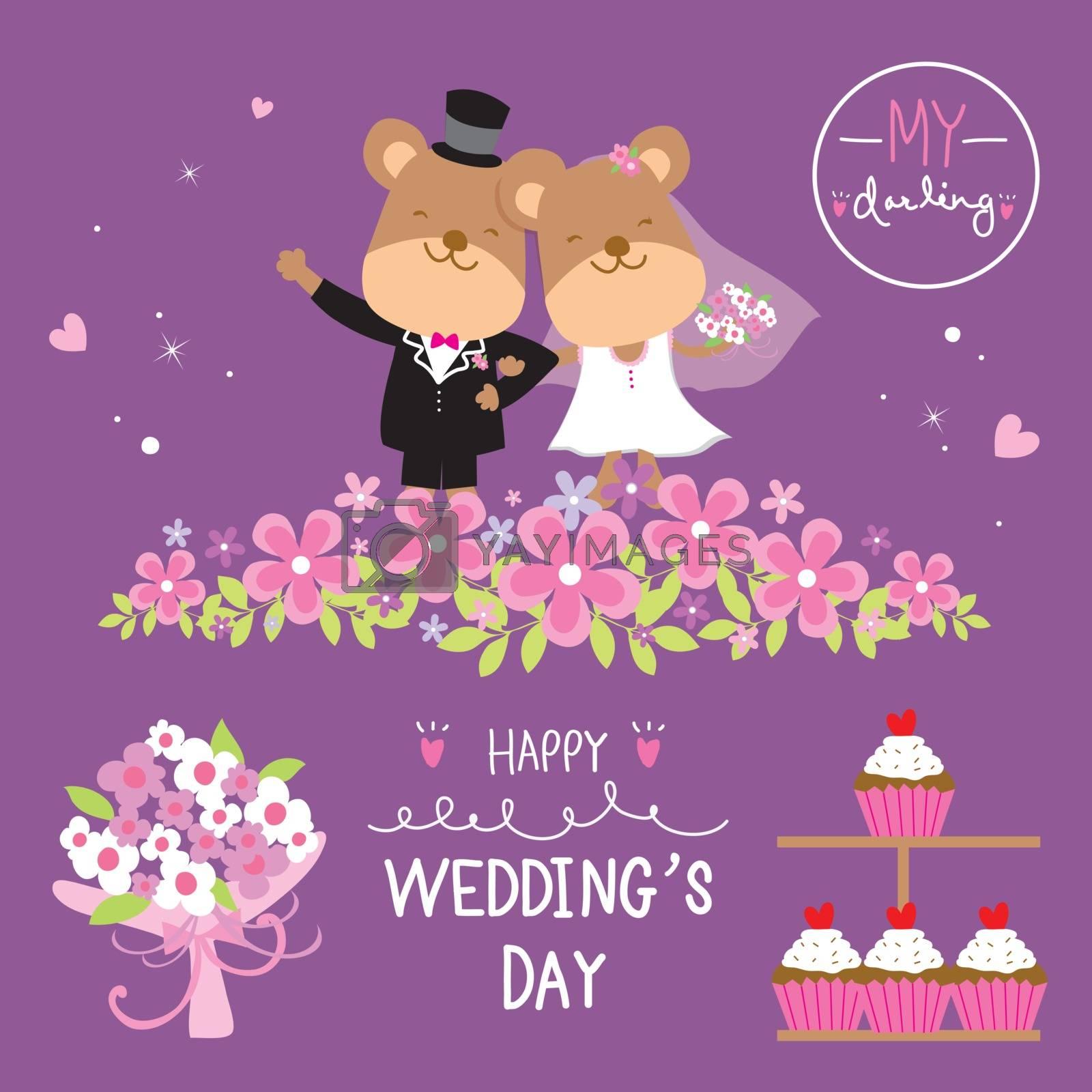 Bear Cartoon of groom bride couple wedding with Flower and cupcake Sweet cute cartoon Vector