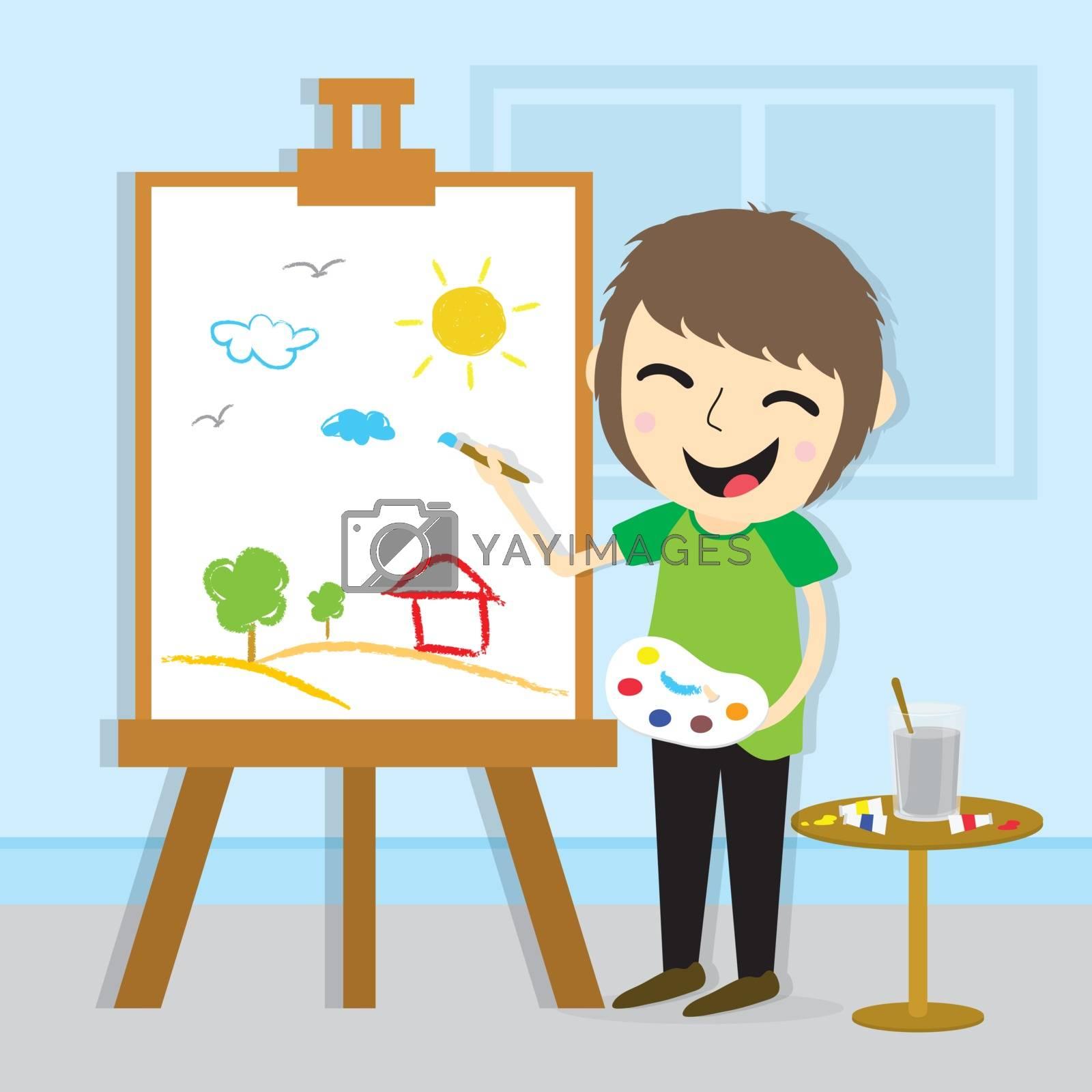 Boy Artist drawing character Cartoon Vector