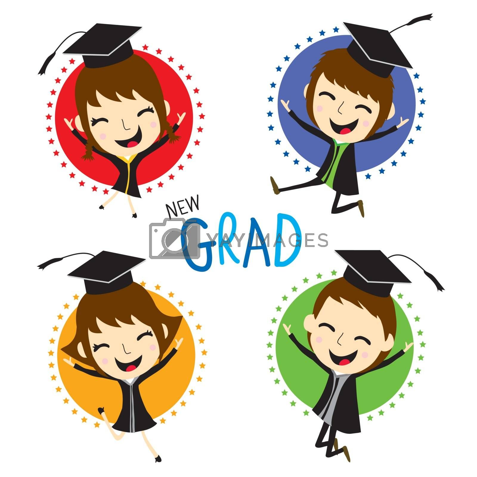 Royalty free image of Congratulation with New graduate kid in Graduation Day cartoon Vector by Ienjoyeverytime