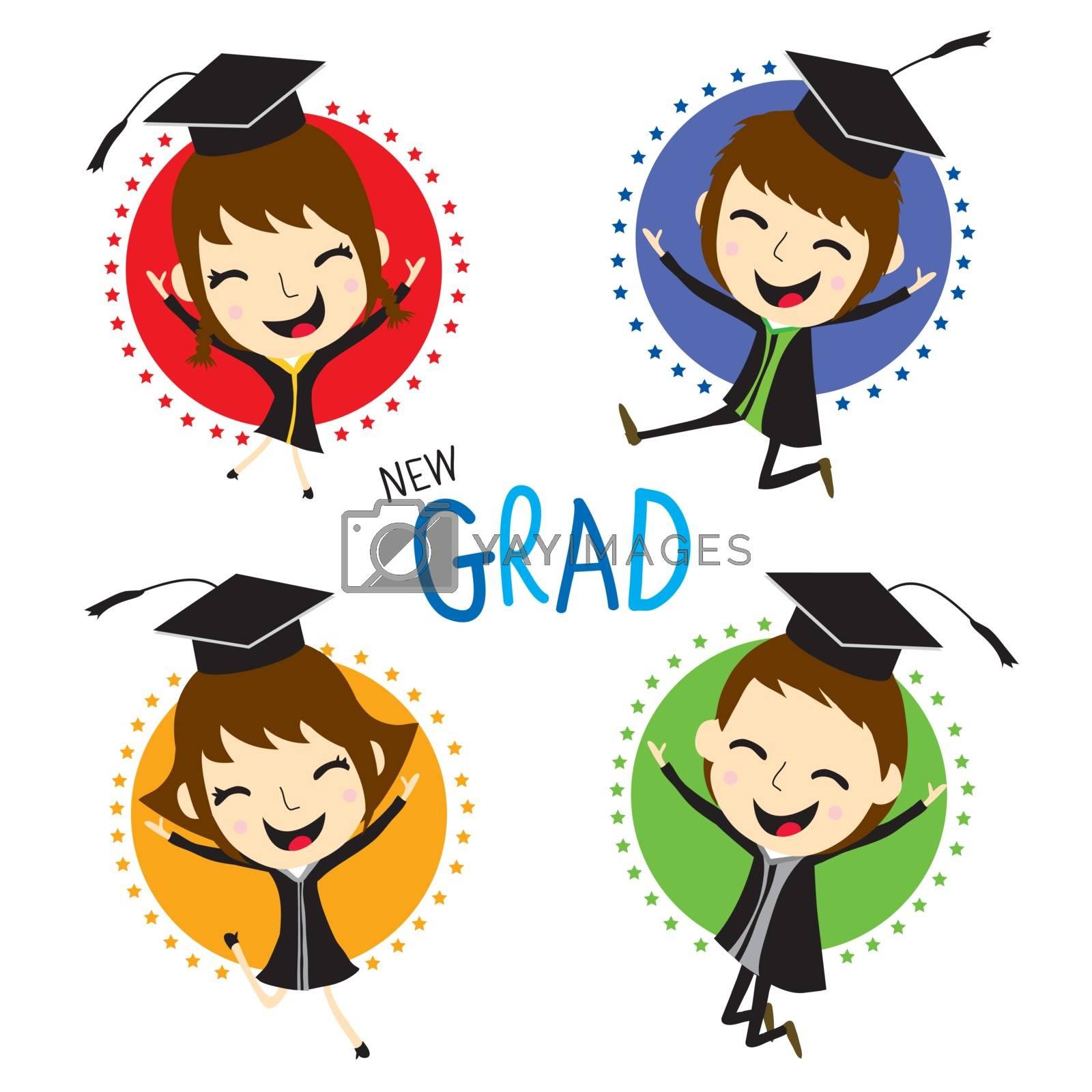 Congratulation with New graduate kid in Graduation Day cartoon Vector