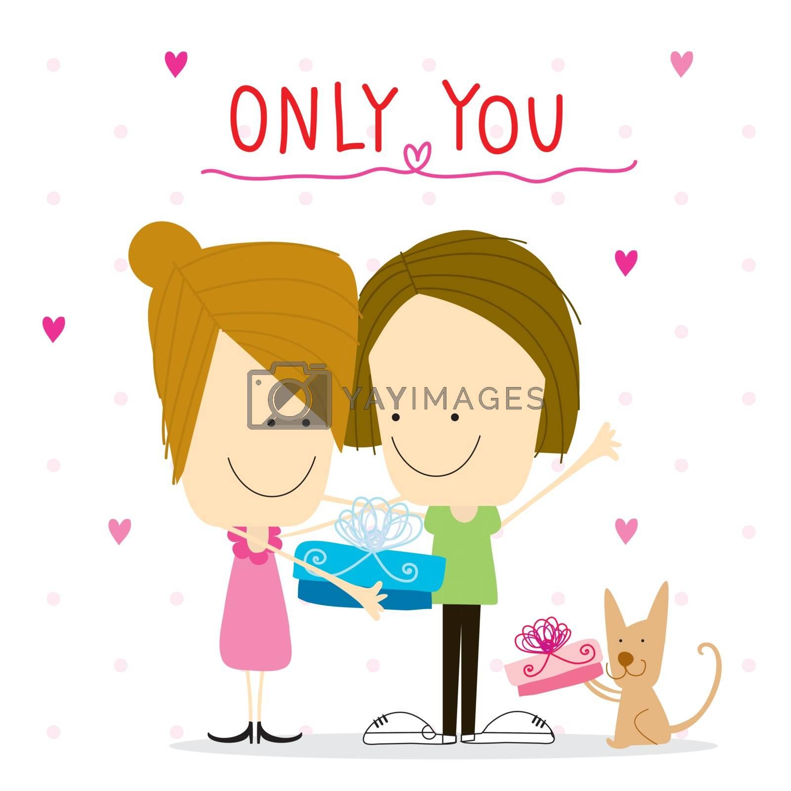 Boy and girl sweetheart cartoon in birthday vector