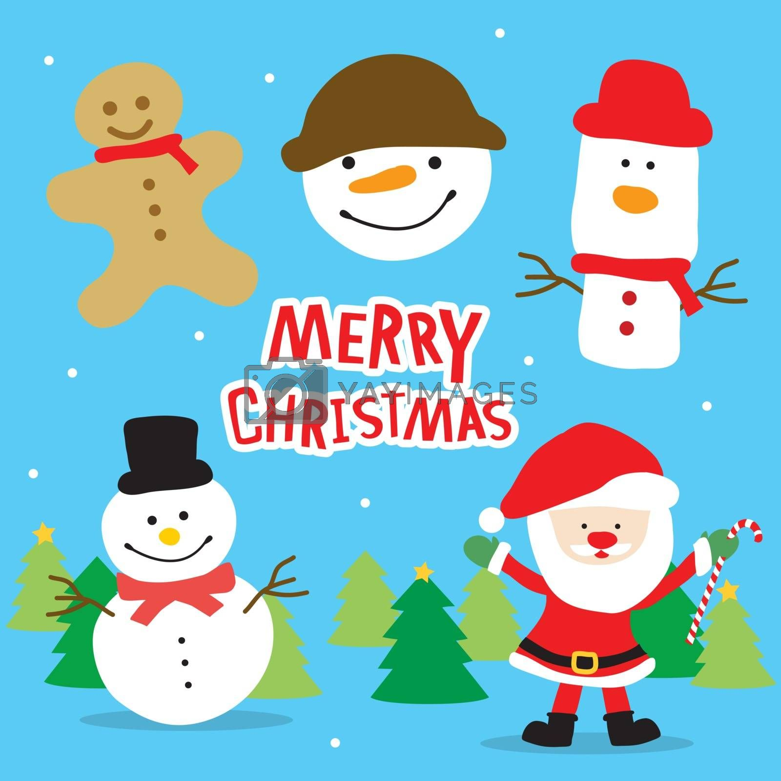 Royalty free image of Merry Christmas Santa Claus and Snowman Cartoon Vector by Ienjoyeverytime