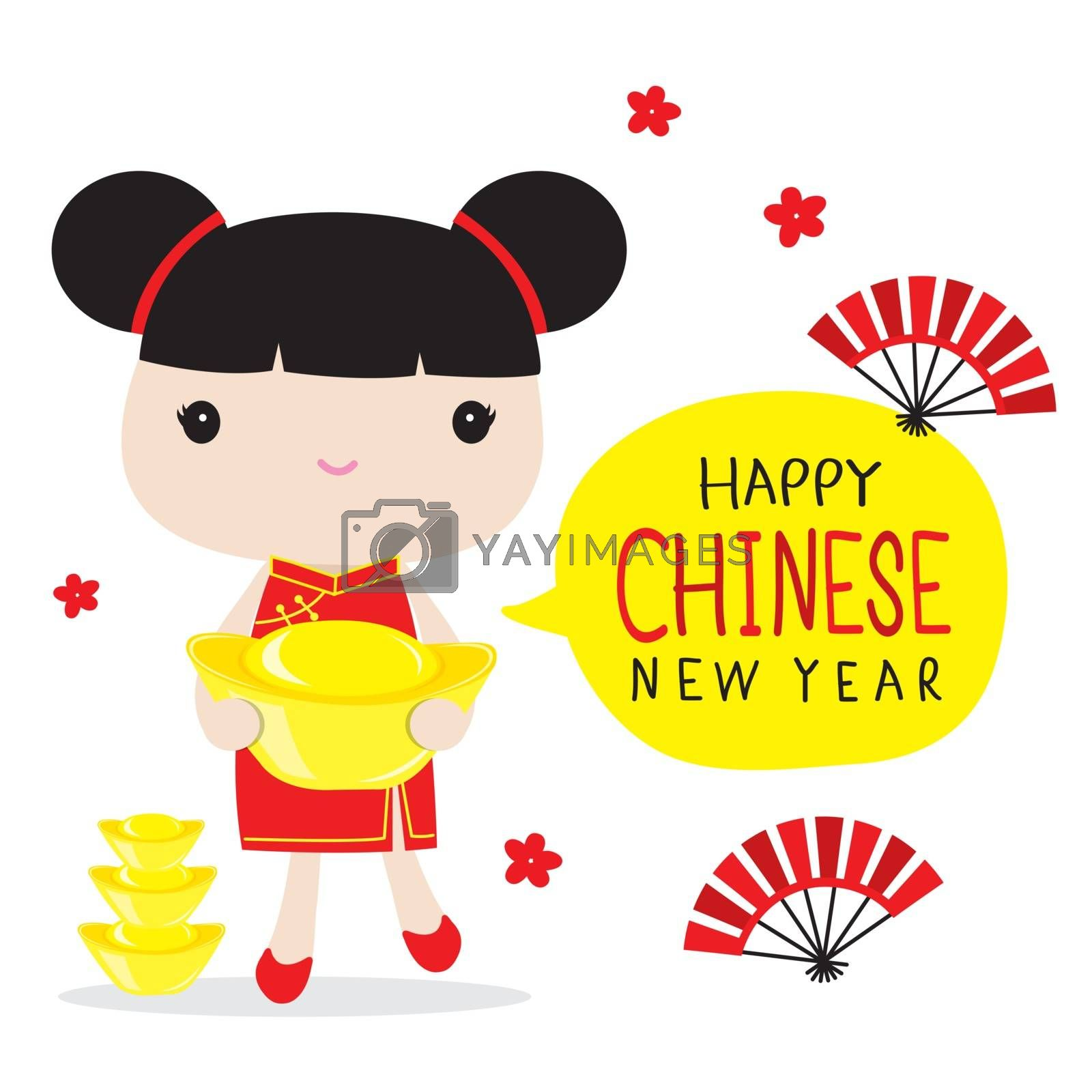 Royalty free image of Happy Chinese New Year, Children Character Cartoon in Traditional Clothes Celebration Vector. by Ienjoyeverytime