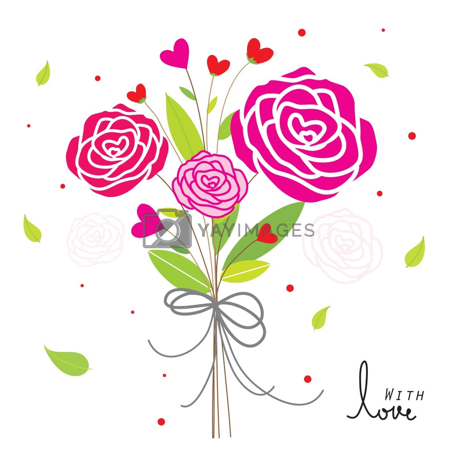 Rose Red Heart and Love element icon symbol in Valentine's Day vector