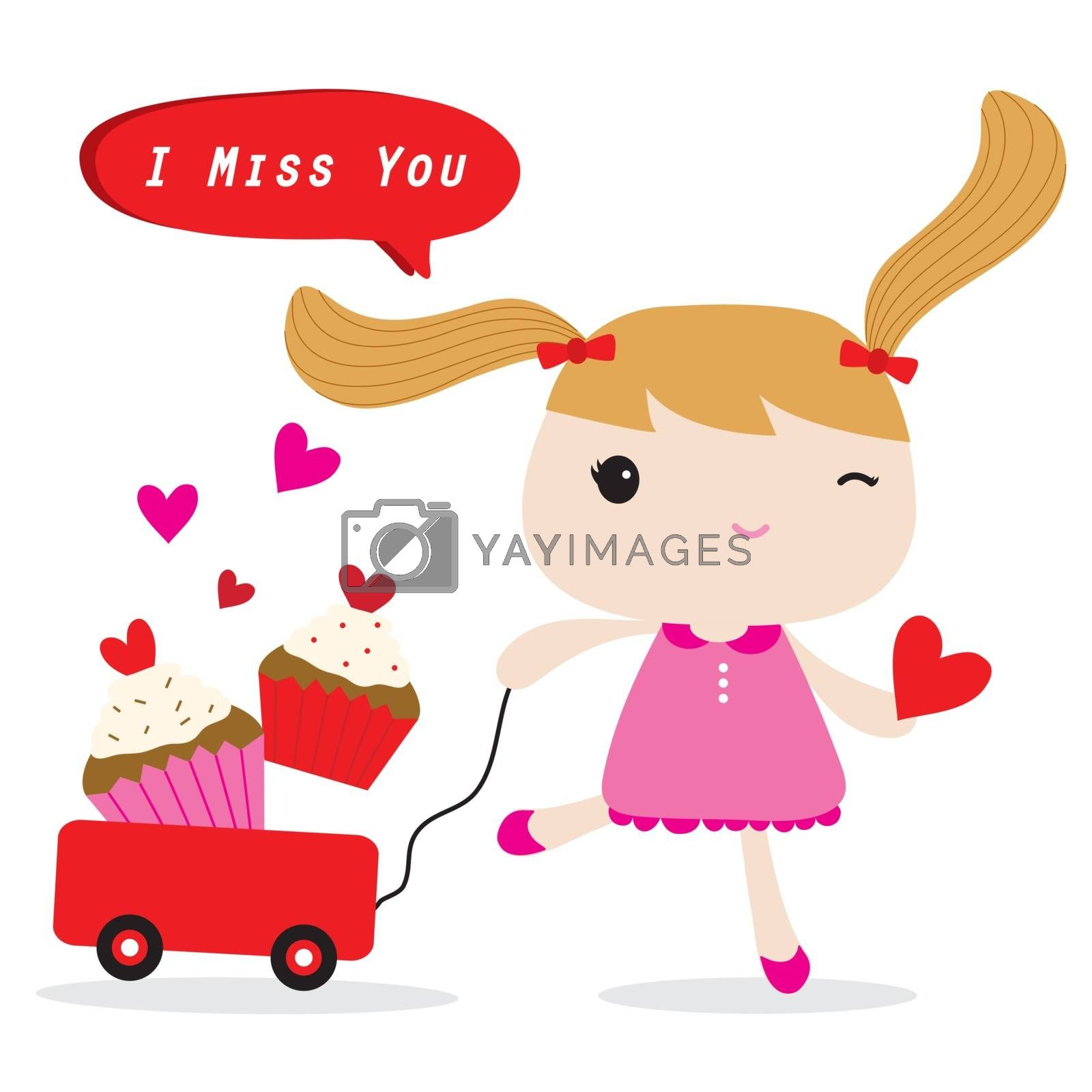 Kid Girl Red Heart with Love in Valentine's Day Cartoon vector