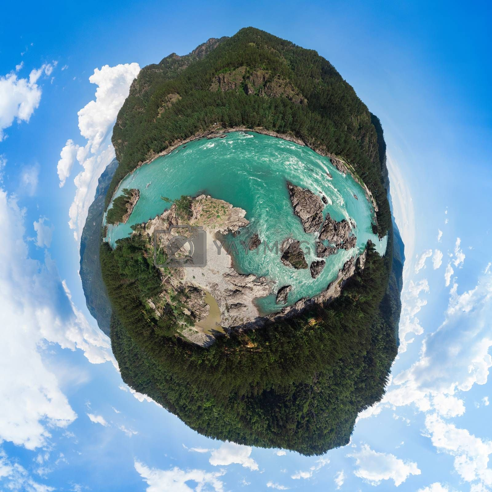 360 spherical panorama of Aerial view of Katun river, in summer morning in Altai mountains, drone shot, Altai Krai, Western Siberia, Russia. Virtual reality content