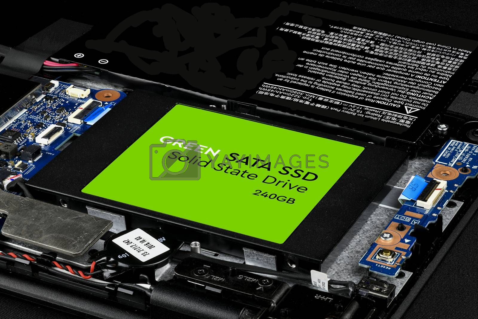 Royalty free image of Green SATA SSD hard drive by GABIS