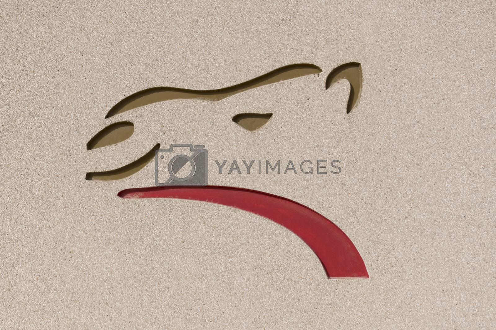 Dubai, United Arab Emirates,  Al Murmoom Camel Racing Club logo.