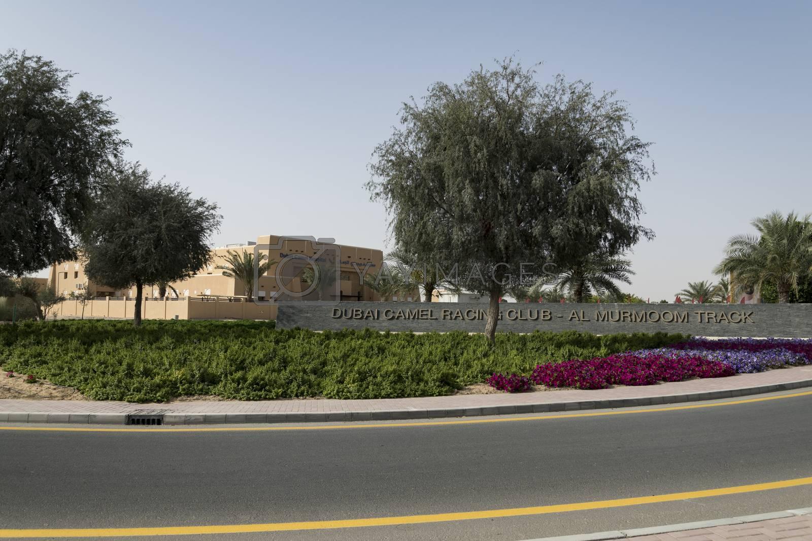 Dubai, United Arab Emirates,  6 April 2018. Main entrance of Al Murmoom Camel Racing Club.