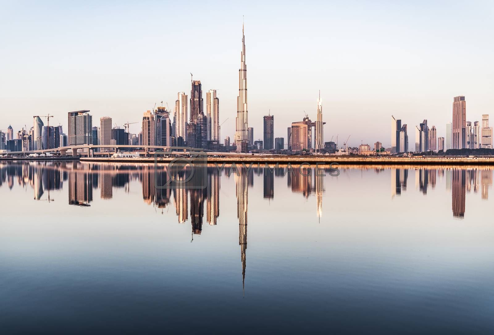 Royalty free image of Clear Sky above Dubai Skyscrapers, UAE - no logo by GABIS
