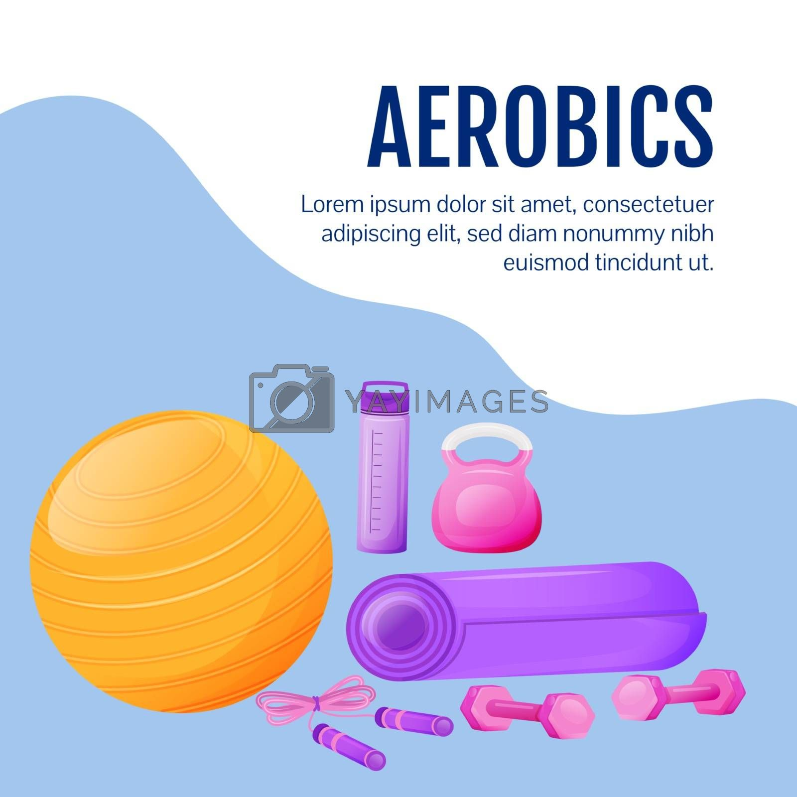 Fitness gear social media post mockup. Aerobics goods. Web banner design template. Gym sport equipment booster, content layout with inscription. Poster, print ads and flat illustration
