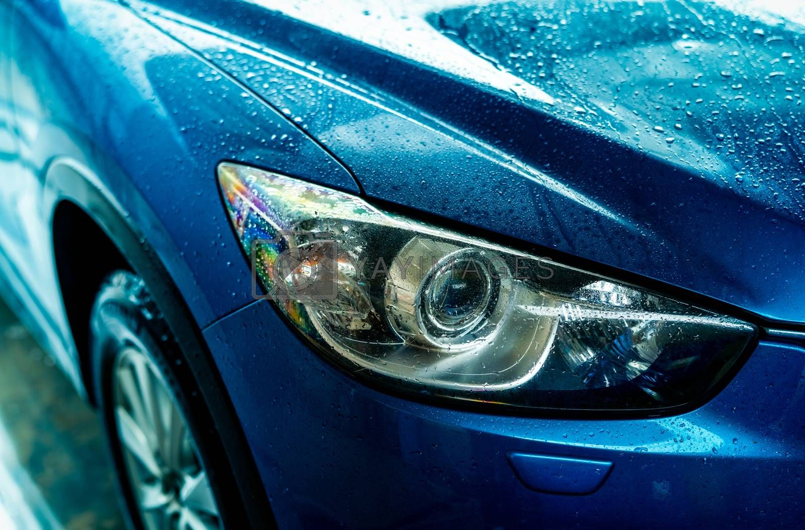 Blue car is washing with water. Auto care business. Car with drops of water after cleaning with high pressure water spray. Car cleaning before waxing service. Vehicle cleaning service with antiseptic.